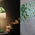 Lampe en papier japonais et longue frange