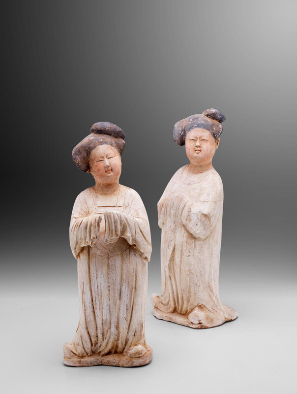 Two impressive painted pottery figures of court ladies, Tang dynasty (618-907)