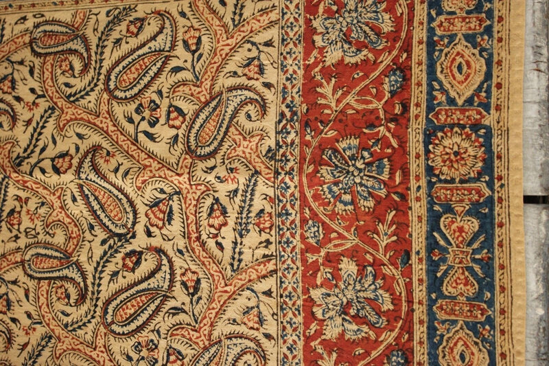 antique-Kalamkari-piece-Indian-textile-paisley-Persian
