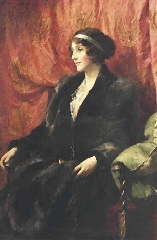 fur coat Portrait of a lady wearing a fur coat and a hair band -- by Samuel Melton Fisher