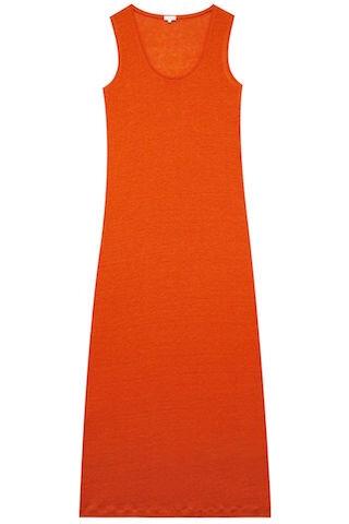 ateliers de la maille robe longue lin eloise ambre