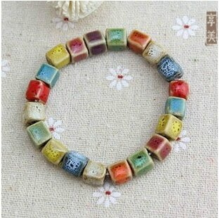Beautiful-Chinese-Style-Quality-Ceramics-Bracelet-Colored-Beads-Tibetan-Silver-Bottle-Fortune-bringing-Wax-Thread-Ethnic