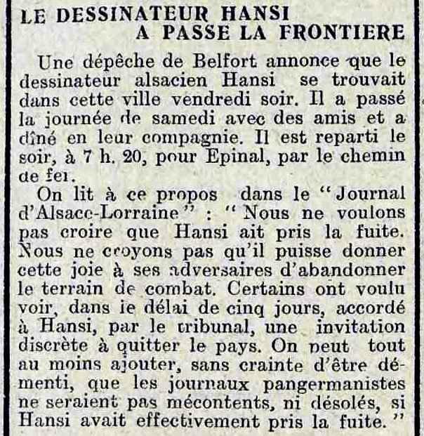 Hansi passe la frontière la flandre libérale 13 07 1914