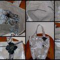 sac en lin et plastique à motifs