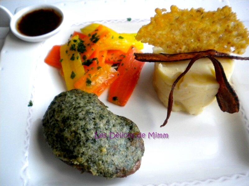 Filet d'agneau en croûte d'herbes et carottes anciennes glacées 2