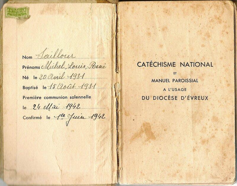 Page de faux-titre catechisme Michel Saillour 1942