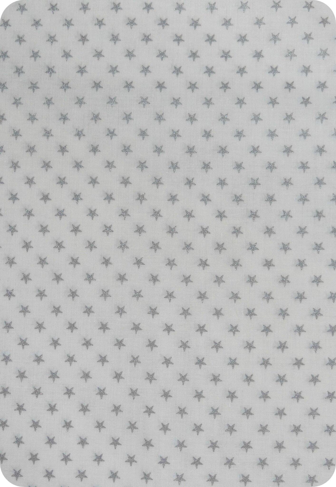 Tissu France Duval blanc étoiles argentées