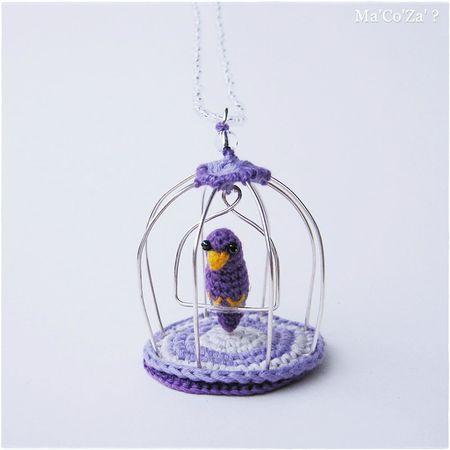Sautoir oiseau au crochet en cage