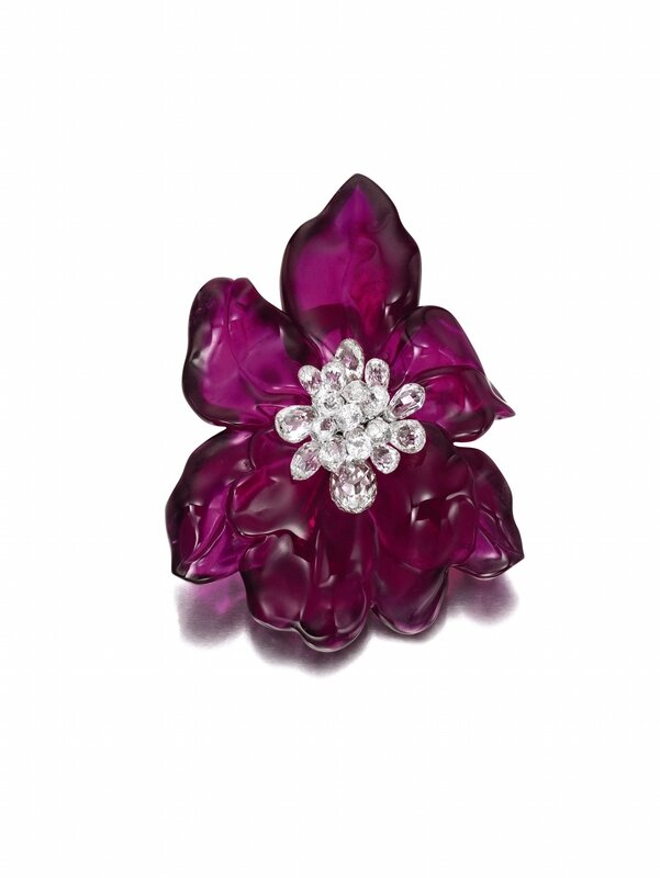 Rubellite and Diamond Brooch - Pendant, 'Orchid', Cartier