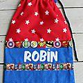 sac a chaussons personnalisé ROBIN