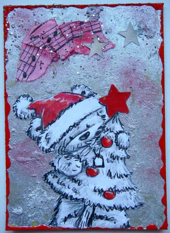 envoyée à Sylvie MUTZENBERG Ourson rouge et gris (Caroleka)