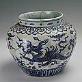Blue-and-white jar with the design of dragon, Xuande period (1426-1435)
