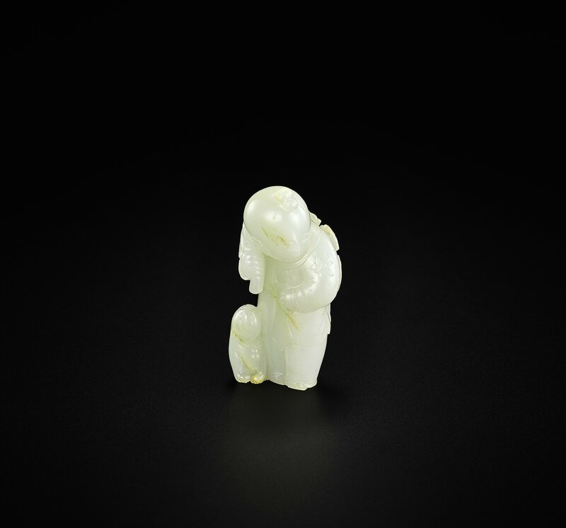 Lot 15_AN EXCEPTIONAL WHITE JADE 'BOY AND CAT' CARVING, QING DYNASTY, 18TH CENTURY