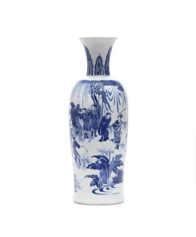 A fine blue and white sleeve vase, rolwagen, Chongzhen period (1627–1644)