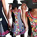 MOD 424A Robe Colorée Fleurie rayée Rose noir blanc esprit Fantaisie Couture à l'imprimé Fleuri Marguerites
