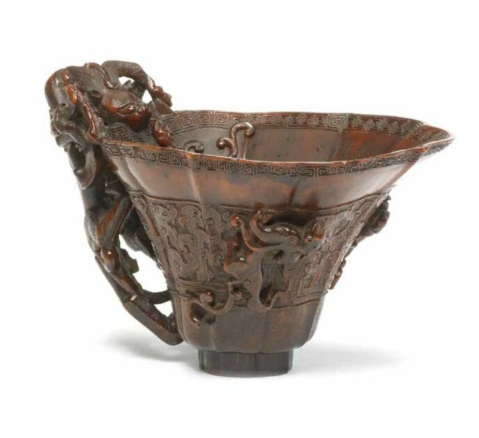 An archaistic rhinoceros horn libation cup, 17th-18th century