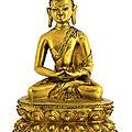 A tibetan gilt bronze shakyamuni buddha, 15th century