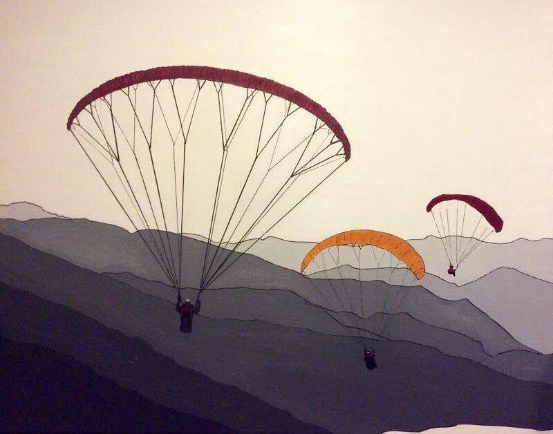 Parapentes sur le Lac d'Annecy Huile sur <toile de Pierre MONTILLO