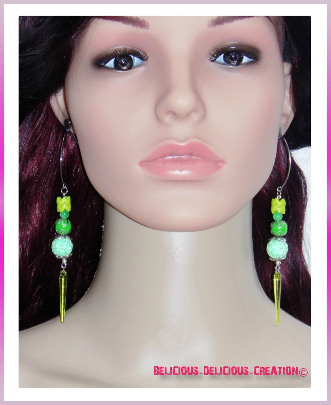 Original Boucles d'oreilles !! GREEN GLOW !! VERT T: 8.5cm BELICIOUS-DELICIOUS-CREATION