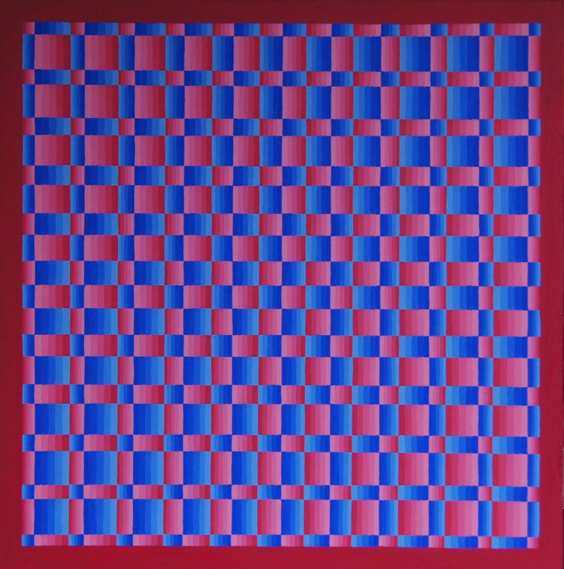 Vague Blur (Red Blue) acrylic on board 24'' x 24''