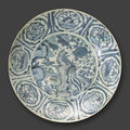 A large swatow blue and white porcelain dish, 16th century