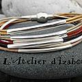 Multicolore, fin et racé ce bracelet multirangs en cuir et ses longs passants de métal argenté donnera de la personnalité !