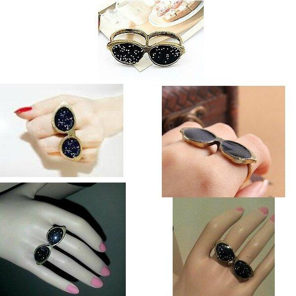 Bague Fashion 2 Doigts Lunettes Email Rose Pailleté Métal Couleur Bronze Taille 56_57