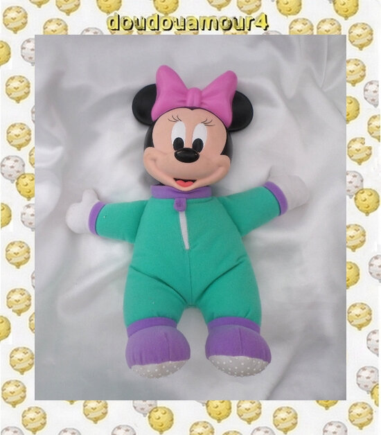 Doudou Peluche Minnie Veuilleuse Vert Et Violet Vintage Mattel Disney