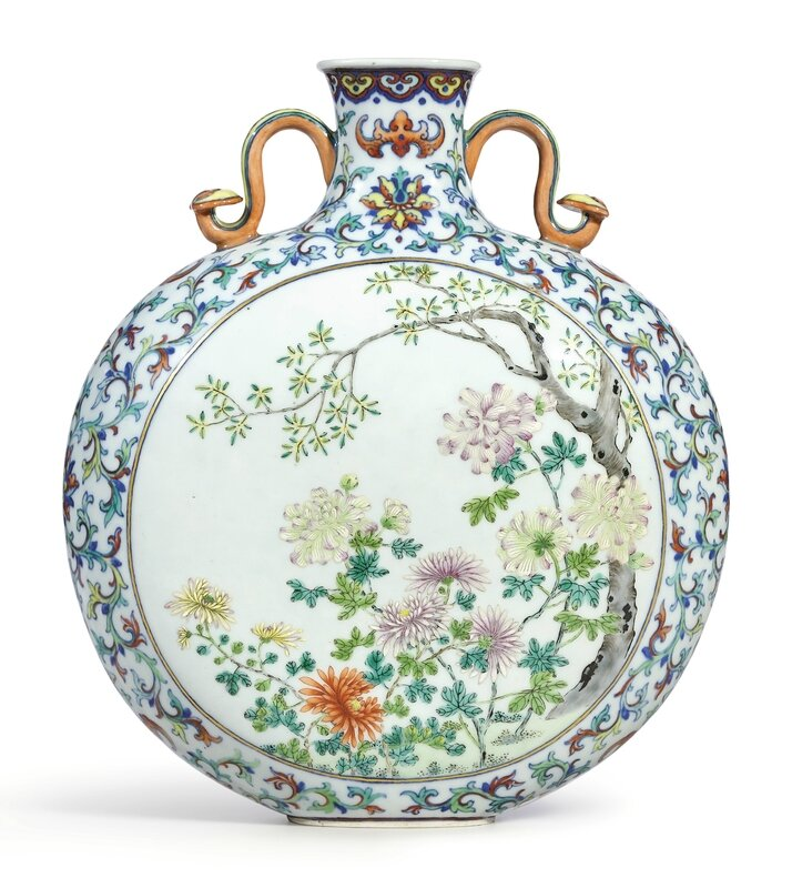 A rare and brilliantly enamelleddoucai and famille-rose inscribed 'Autumn' moonflask, seal mark and period of Qianlong