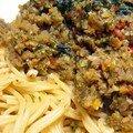 Spaghettis, bolognaise de legumes fondante...