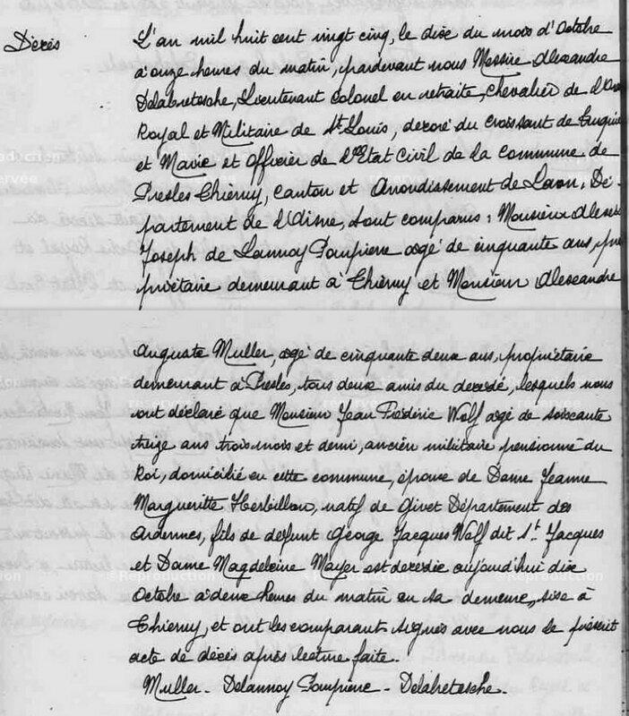 Jean-Frédéric décès 1825