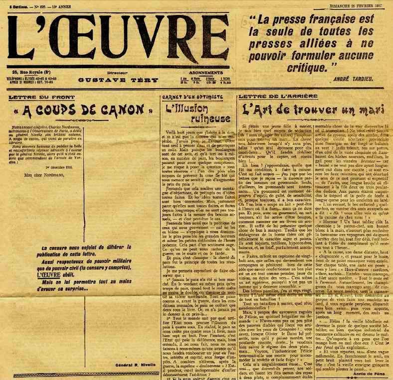 Oeuvre 25 Fév 1917