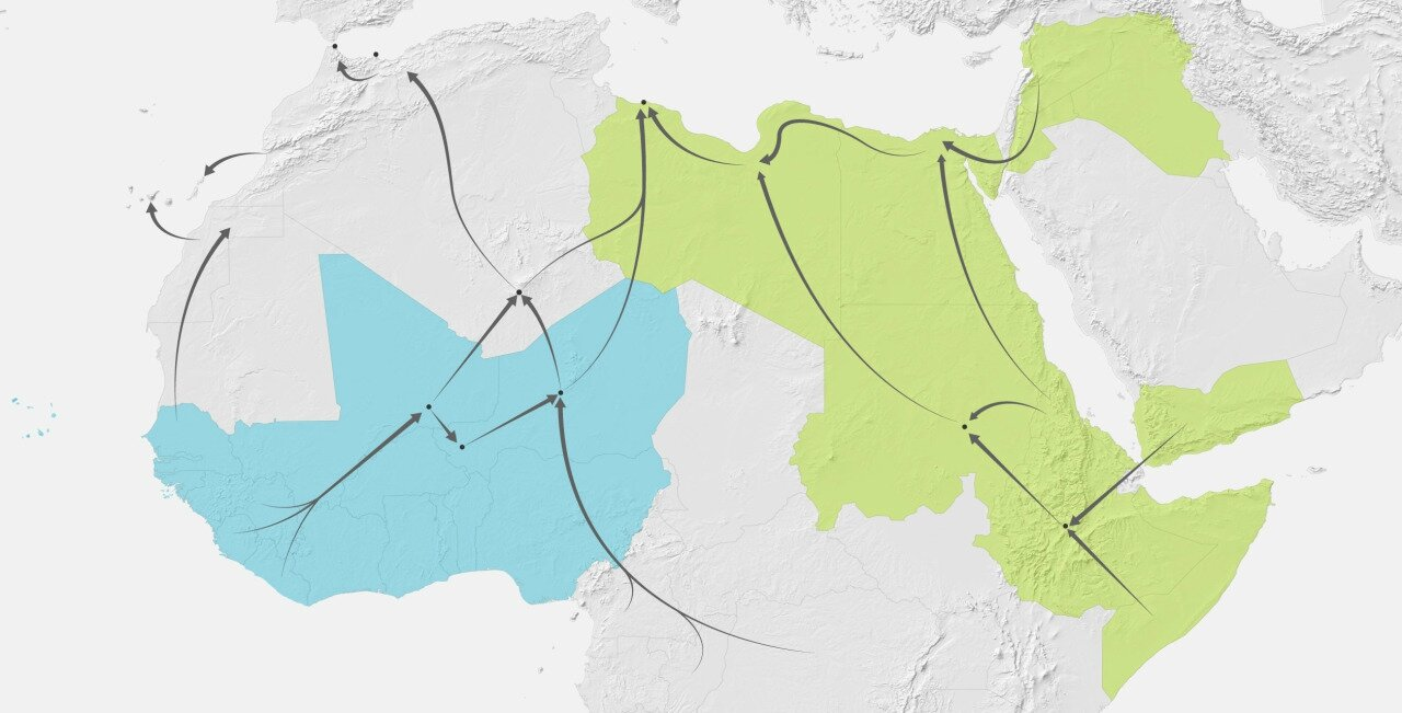 Illegal Immigrant Migration routes before heading to Europe