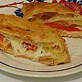 Chausson feuilleté saumon fumé tomates mozza