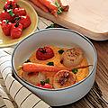 Puree de carottes - carottes glacees et saint jacques poelees