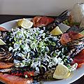plat de poisson grillé ( hout mechoui ) aux oignons verts et citron