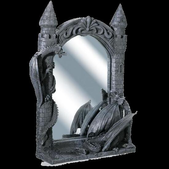 miroir-gothique-chateau-figurine-statuette-dragon