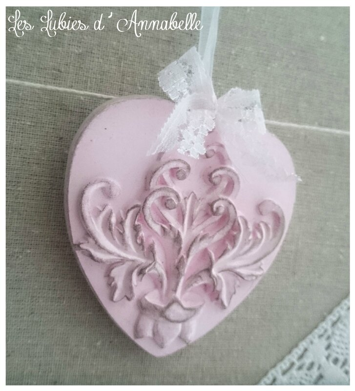 coeur plâtre rose shabby chic