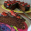 Gâteau au yaourt au chocolat décoré avec des fraises (de salima)