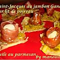 Saint-jacques au jambon ganda sur lit de poireau