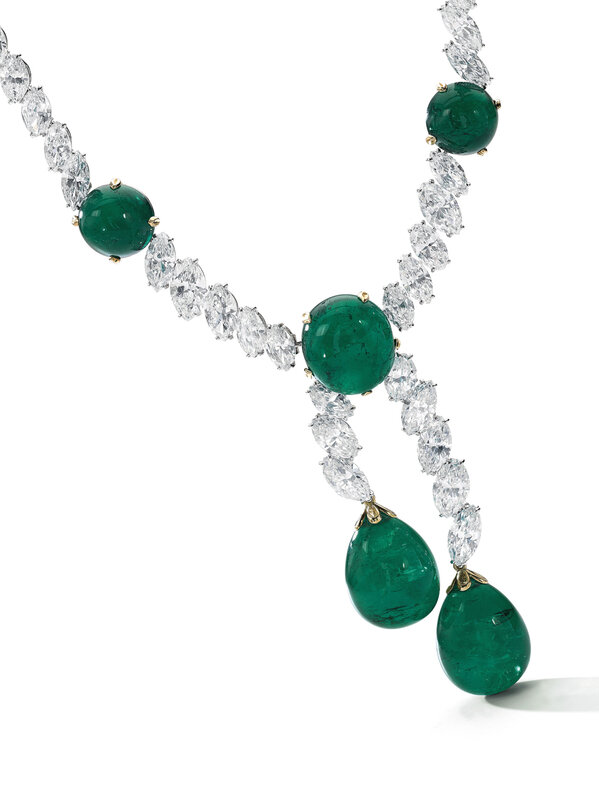 Colombian emerald and diamond necklace, Cartier - detail - Magnificent Jewels and Noble Jewels Sotheby's Geneva 13 nov 2019