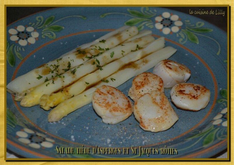salade tiède d'asperges et St Jacaues rôties