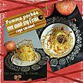 Pomme pochée coeur amande & sirop d'érable en cage de caramel