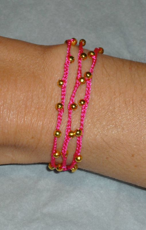 Bracelet Collier doré tissé fuchsia
