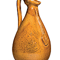 An amber-glazed pottery ewer, liao dynasty, late 10th-11th century