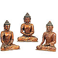 A rare set of three gilt-lacquered wood figures of the buddha, 17th-18th century