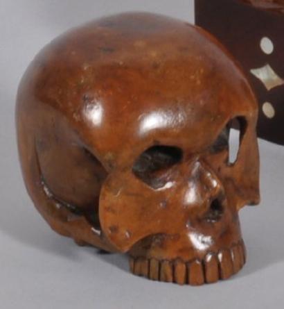 Crâne sculpté en buis XVIIIème siècle. photo Eve