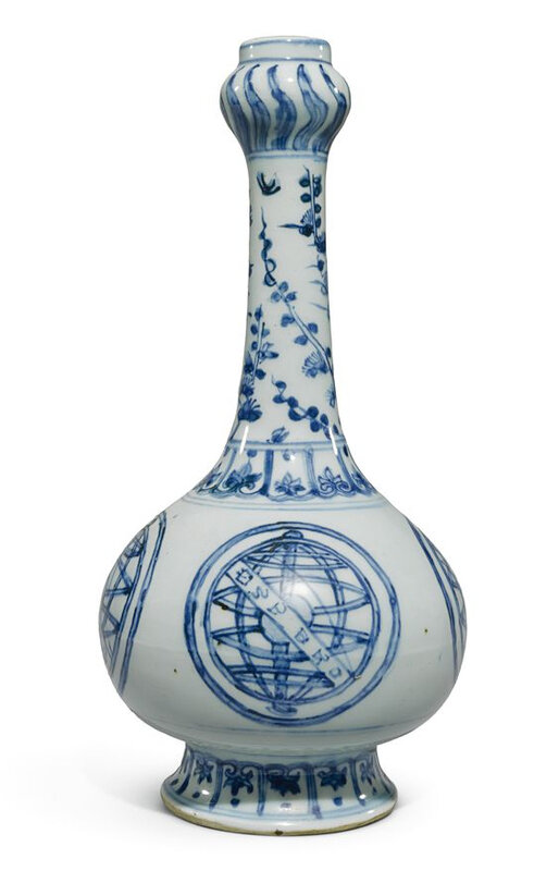 Lot 59. A blue and white bottle vase for the Portuguese market, Ming dynasty, Jiajing period, circa 1540-1550; 24.4cm, 9 5/8 in. Estimate 40,000—60,000 GBP. Lot Sold 49,250 GBP. Photo Sotheby's 2011