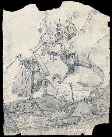 The_Brothers_Hildebrandt___Eowyn_and_the_Nazgul_sketch