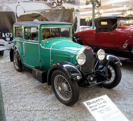 Bugatti type 40 berline de 1928 (Cité de l'Automobile Collection Schlumpf à Mulhouse) 01